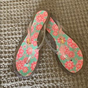 Vineyard Vines Pink Floral Print Clear Sandals